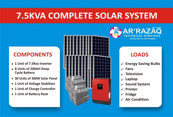 Complete 7.5Kva Solar System